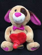"""Red Heart Lightup Propellar Brown Puppy Dog Pink Nose Bow Tie Singing Plush 9"""""""