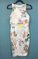 Asos White Pink Red Rose Floral Overlay Pencil Wiggle Dress 10 - B10