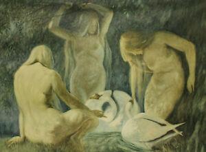 Otto Haushofer ? - Nackte Frauen im Wald mit Schwänen