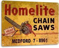 Homelite Chain Saws Tools Equipment Garage Shop Rustic Metal Decor Sign