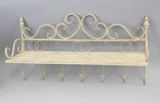 9977077 Metall Wand-Haken-Leiste Regal Shabby-Chic Vintage weiss 62x45cm