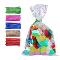 100 Pack Iridescent Holographic Cellophane Party Favor Treat Bags with 5 Colors