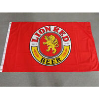 LION RED Beer Flag 90x150cm 3x5 Foot Banner Pub Bar Advertising Sign USA America