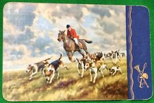 Playing Cards 1 Single Swap Card Old Vintage Hunting Hunt HORSES Dogs HORN WHIP