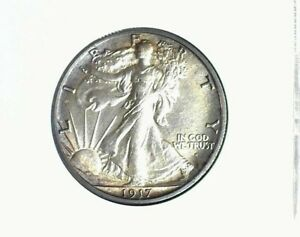 1917-S WALKER SILVER 50 CENTS NEAR GEM UNC OBVERSE NICE TONING! RARE THIS NICE!