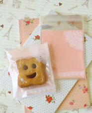 Lace & Key Peach Pink Cello Bags cookie candy packaging gift wrap favour bag