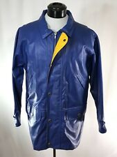 WOOLRICH Blue Heavy PVC Waterproof Raincoat Jacket Cotton-Lined sz M Rare Model