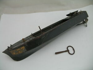 Canot JRD (France): Pressed Steel Torpedo Boat V.22 with Clockwork Motor, & KEY