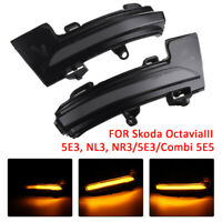 Dynamic Turn Signal  Mirror LED Light Indicator For Skoda Octavia III 5E3