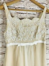 Vintage 50-60s Handmade Beaded Rose Prom Bridal Evening Gown Dress Beautiful S