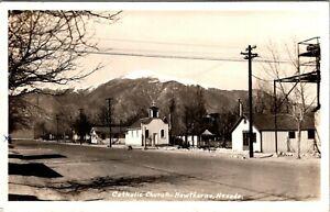 HAWTHORNE NEVADA CATHOLIC CHURCH STREET SCENE 1945 REAL PHOTO POSTCARD VIEW