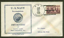 USS TARBELL DD142 RECOMMISSION 10/23/39  FIRST DAY MAIL CANCEL