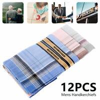 Mouchoirs 12pc Plaine Hommes x 38cm Cadeau 100% Coton Poche Carrée Hankie Hanky