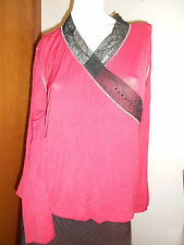 RE-LAUNCH Ruby Red Sheer Sequin Top Sz L