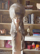 SIN CITY WIGS STAND OUT SUPER LONG HALF UP HALF DOWN POOF VOLUME GREY UNIQUE HOT