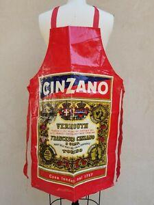 Vintage Cinzano Vermouth Plastic PVC Apron Sari Made England Retro Advertising