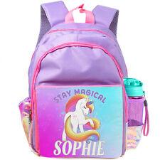 Personalised School Bag UNICORN Girls Backpack Childrens Kids Pink Unicorns KK45