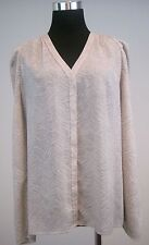 Ann Taylor Womens Button Up Shirt V-neck Long Sleeves Beige Gray Print Size 6