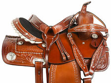 CUSTOM 14 15 16 WESTERN CRYSTAL BARREL TRAIL SHOW PLEASURE HORSE LEATHER SADDLE