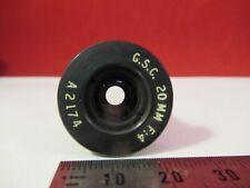 OPTICAL BRASS MOUNTED LENS G.S.C. 20mm f:4 MICROSCOPE PART OPTICS a2174 &12-A07