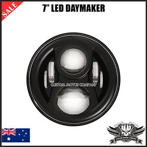 "Black 7"" LED bezel Headlight daymaker Ducati Yamaha Suzuki Honda scrambler 696"