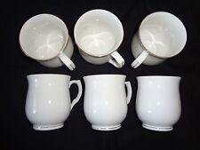 Set of 6 Elegant White, Fine China Coffee/Tea Mugs with Gold Trims