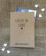 12 Personalised Brown Kraft Scratch Card Wedding Favour Holders