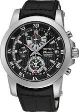 Seiko SPC161P2 Premier Mens Perpetual Alarm Leather Band Watch RRP $995.00
