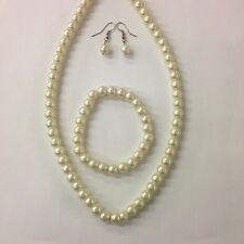 Ivory Cream Simple Single Strand Faux Pearl Necklace Set Bridesmaid (USA seller)