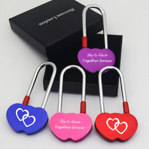 Personalised Bridge Padlock Hearts Love Lock Wedding Anniversary Gift Free Box
