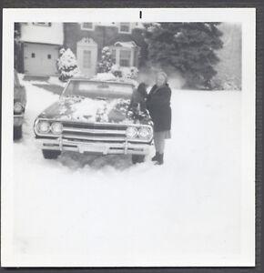 Vintage Car Photo 1965 Chevrolet Chevelle Automobile in Winter Snow 758686