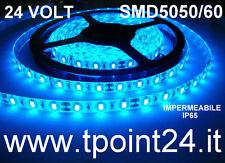 STRISCIA LED 24 VOLT 5METRI SMD5050 300 LED COLORE BLU IMPERMEABILE