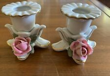 """Pair Of Vintage porcelain Dresden pink rose candle holders 2.5"""" Made In Germany"""