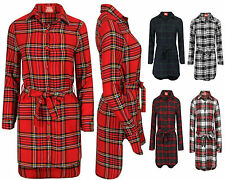 Womens Check Shirt Mini Dress Ladies Long Sleeve Tartan Romper Dress Size 8-16