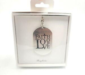 Dog Tag Keychain Silver Religious Faith Love Hope Gift Keychain