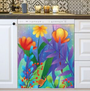 Kitchen Dishwasher Magnet - Colorful Blooming Garden