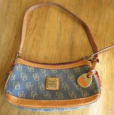 Dooney & Bourke Vintage Signature Denim Small Zip-Top Canvas Leather Bag Purse