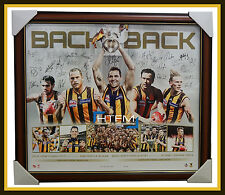 2013 & 2014 Hawthorn 2014 Back to Back Premiers L/E SIGNED AFL Print Framed COA