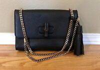 Gucci Miss Bamboo Black Gold Chain Shoulder Bag Handbag Medium