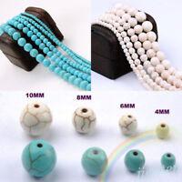 20-100Pcs Howlite Turquoise Gemstone Round Loose Beads Jewelry Making 4/6/8/10mm
