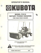 KUBOTA F3219 ROTARY POWER SWEEPER OPERATOR'S MANUAL For F2000 Front Mower