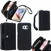 PU Leather Wristlet Cash Clutch Wallet Phone Case Cover For iPhone & Samsung