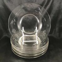 "Set of 8 Vintage Clear Etched Glass Floral 8"" Salad Plates"
