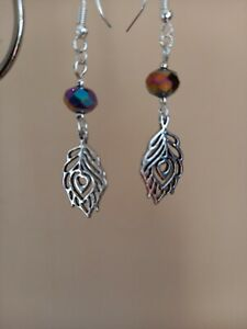 Silver peacock feather & multicoloured glass bead long drop dangly earrings
