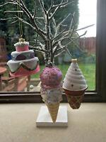 Novelty Christmas Decorations - Ice Cream Cone/Birthday Cake Baubles - Xmas Decs