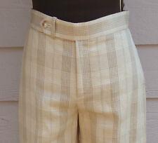 NEW $755 Ralph Lauren Black Label Size 2 Pants Tan Plaid Linen Silk Cuff