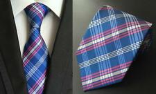 Blu Cravatta Rosa e Bianco Artigianale con Motivo 100% Seta Matrimonio Uomo