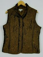 Coldwater Creek Women's Medium Brown Metallic Snap & Full Zip Quilted Vest