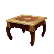 Orientalischer Beistelltisch Wohnzimmer Holz Tisch Opiumtisch Messing S 38x38cm