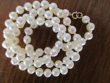 "18"" Freshwater Pearl Necklace w/ 14kt. Gold Clasp - Genuine Pearls on Silk Cord"